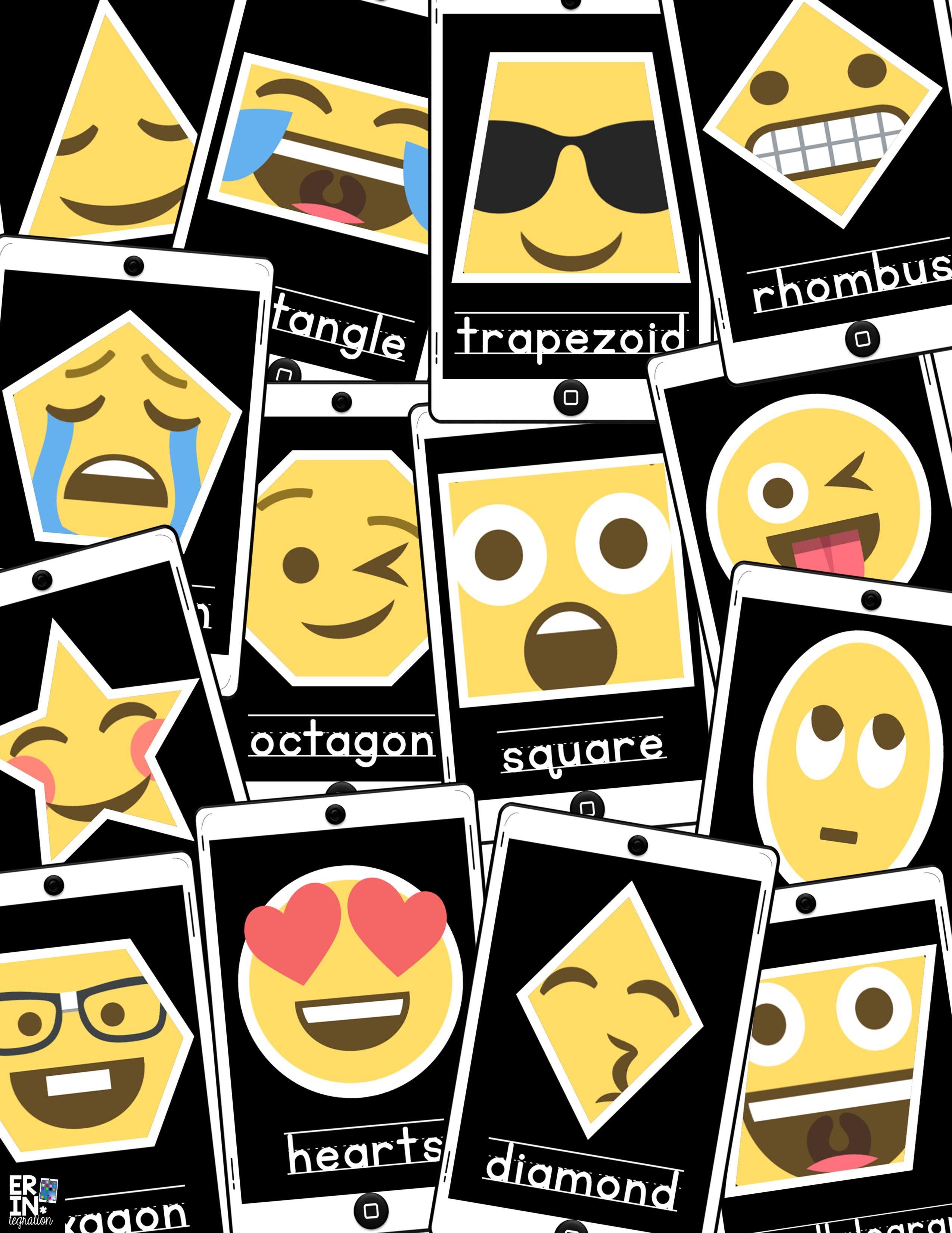 Classroom Decoration Emoji ~ Emoji shape posters english and spanish