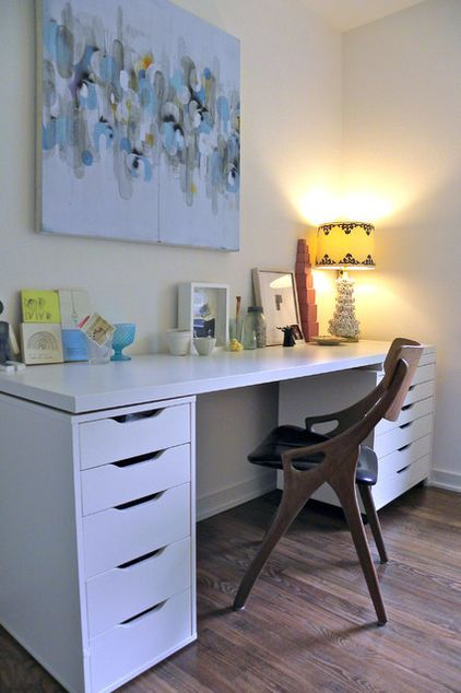 My Houzz A Dallas Home Goes Modern And Artful Ikea Home Office Ikea Desk Ikea Design