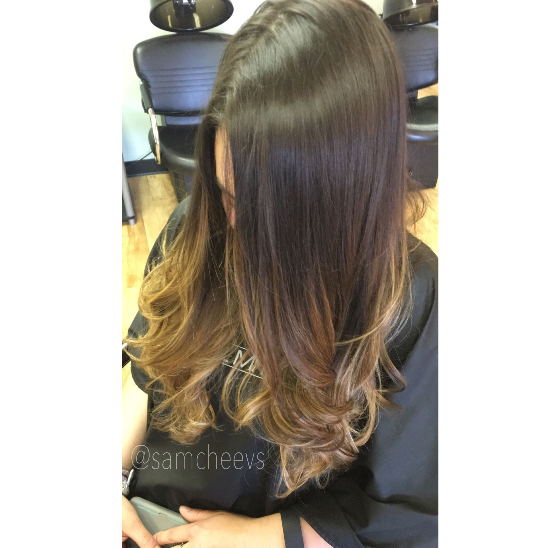 Brown Roots To Blonde Ends Highlights For Dark Hair Curled