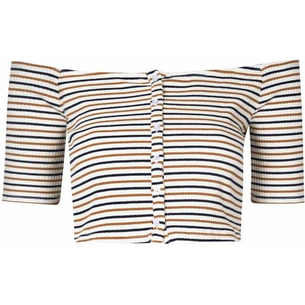 Cream And Tan  Stripe Off The Shoulder Crop Top (555 UYU) ❤ liked on Polyvore featuring tops, crop tops, shirts, t-shirts, clothes - tops, cream, off shoulder tops, off shoulder crop top, white off shoulder top and short sleeve shirts