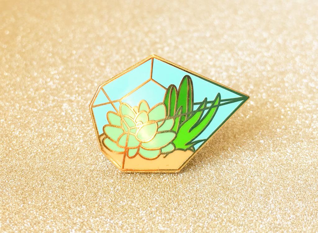 Succulent Terrarium Pin