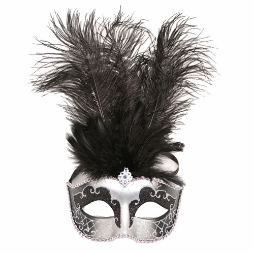 Black Masquerade Stick show girl Feather mask Birthday Dress up Costume Party