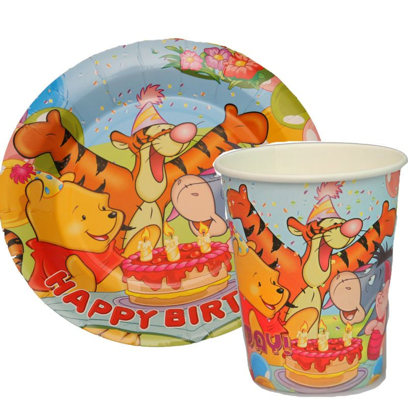 100pcs Winnie the Pooh Tigger Paper Plates and Cups Disposable Cake Pans baby shower birthday party  sc 1 st  Pinterest & 100pcs Winnie the Pooh Tigger Paper Plates and Cups Disposable Cake ...