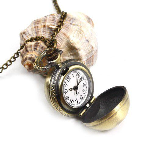 HOTER? Spherical Refacing Design Antique Style Delicate Pocket Watch with Chain - Bronze by HOTER. $10.00. Diameter: 0.86 in Weight: 0.11 lbChain Length: 31 inFeatures1. Delicate design and antique style2. Alloy material, bronze color3. Spherical Refacing Design4. Great for matching clothes5. Best present for families and friendsThis is a kind of antique style pocket watch.With a perfect workmanship and delicate design, it brings you a revitalized feeling. You can put it...