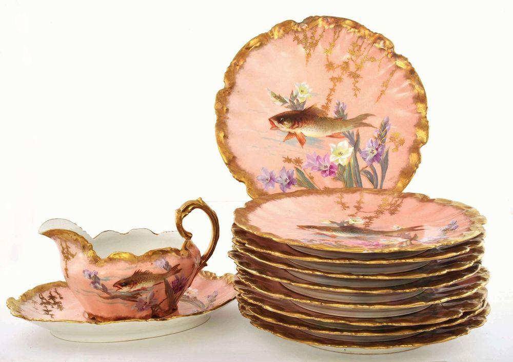 11 Piece Antique Limoges Porcelain Hand Painted Fish Serving Plate Gravy Boat Sg & 11 Piece Antique Limoges Porcelain Hand Painted Fish Serving Plate ...