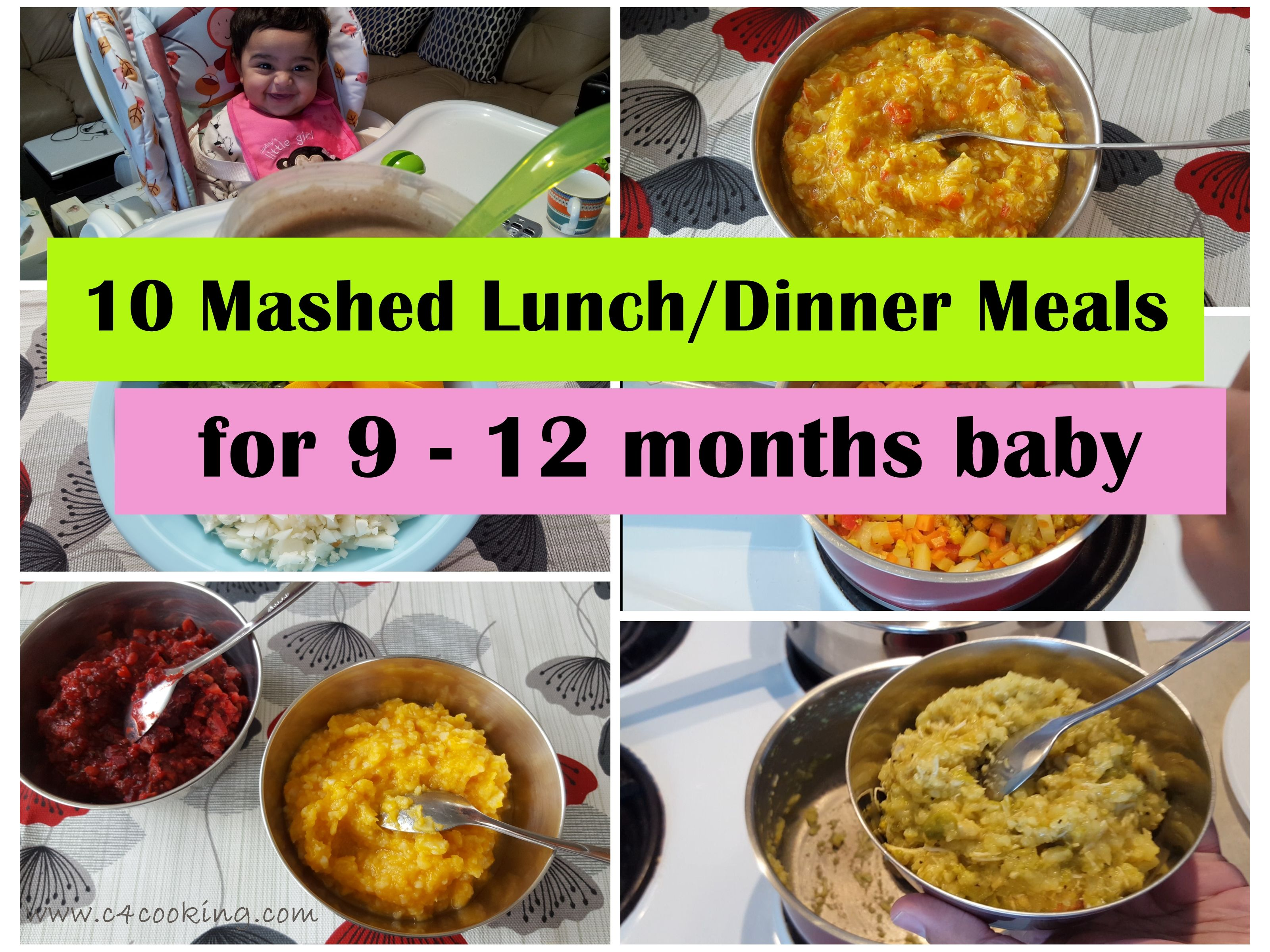 10 Mashed Meals for 912 months baby.. Baby food recipes