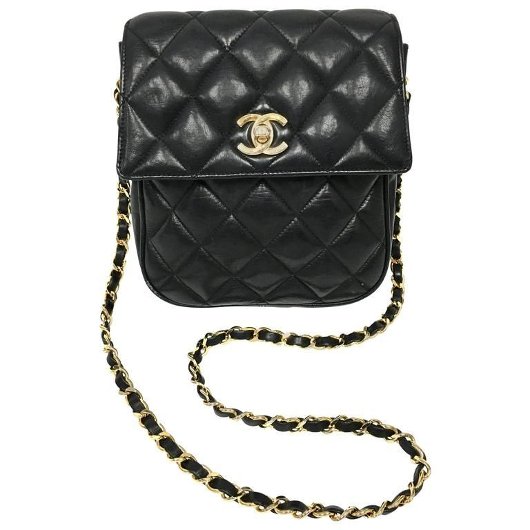 34b55b8bc84e Vintage Chanel Black Lambskin Leather Mini Cross Body Flap Bag ...