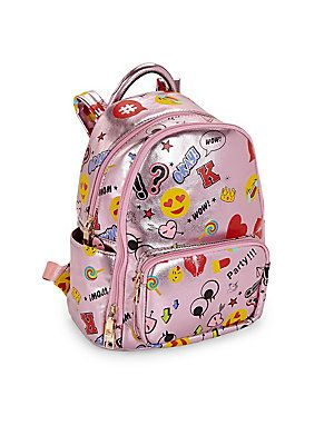 Bari Lynn Kid's Printed Emoji Backpack - Metallic Light Pink