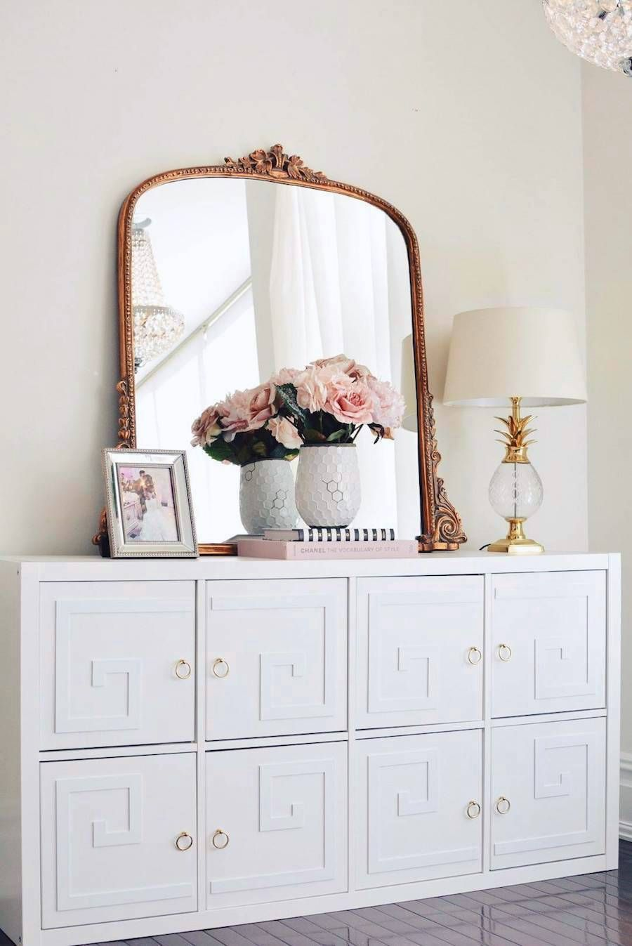 Gilded French Mirror On White Dresser Via The Pink Dream
