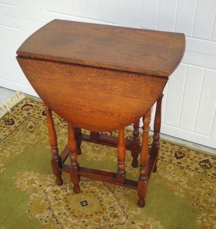 Antique Pee Size Drop Leaf Gate Leg Table Turned Legs End