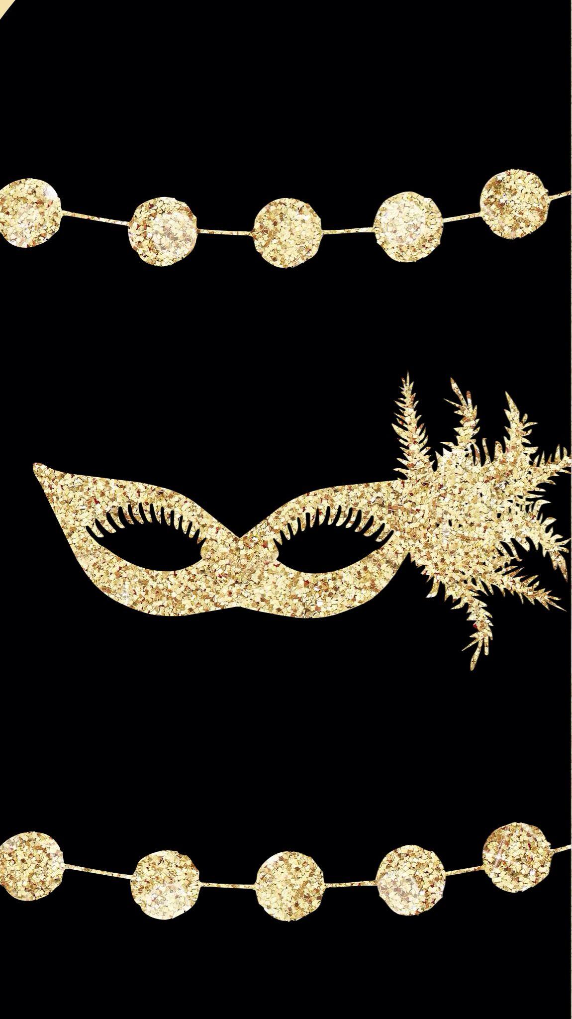 Black Gold Party Ball Mask Masquerade Iphone Wallpaper Phone