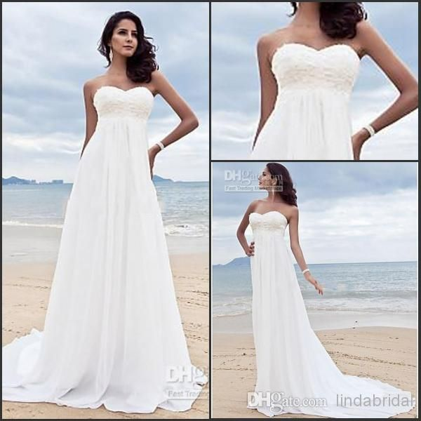 Top Quality 2017 Empire Wedding Strapless White Chiffon Pleat Pregnant Woman Beach Bridal Dress Gown