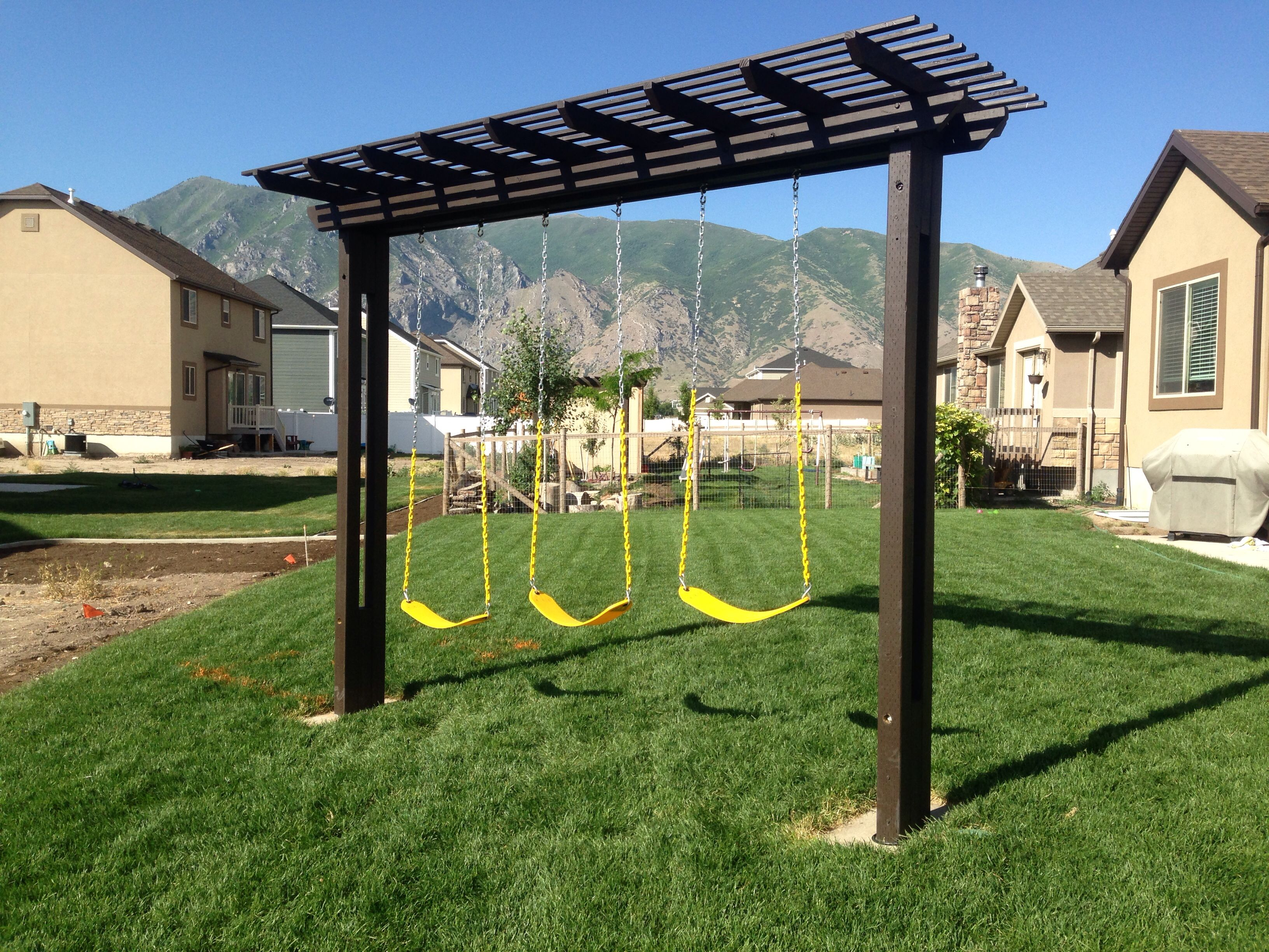pergola swing set i built for my kids yard in 2019. Black Bedroom Furniture Sets. Home Design Ideas