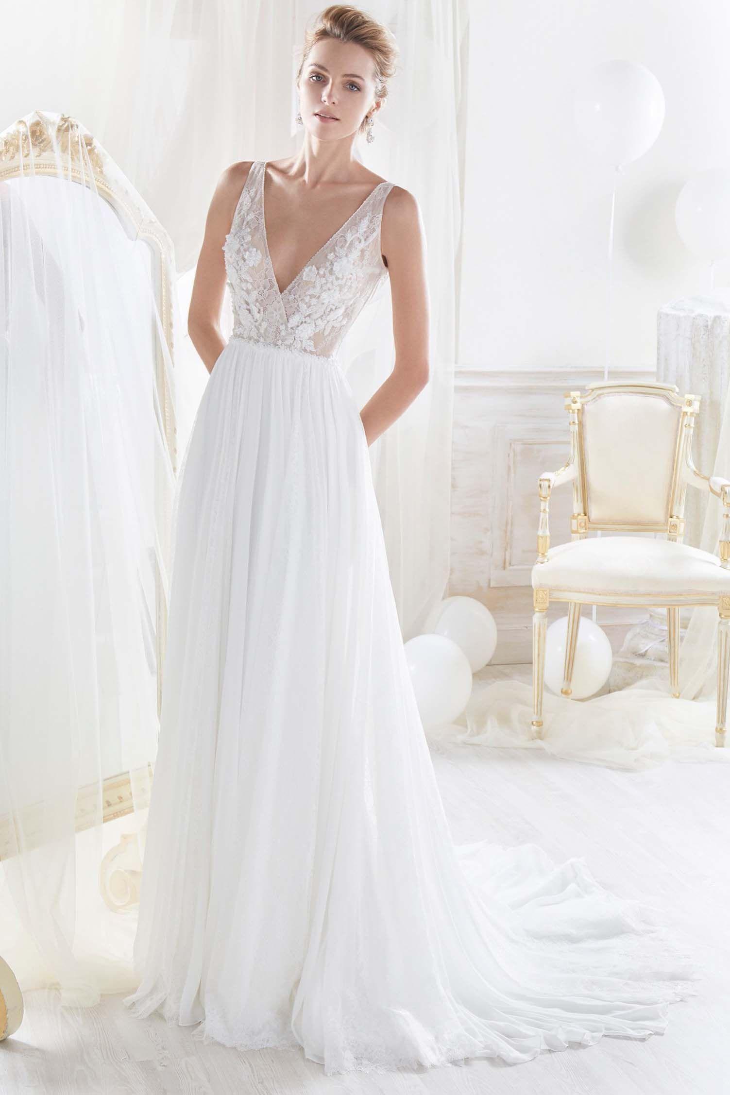 Vestidos novia escote en v