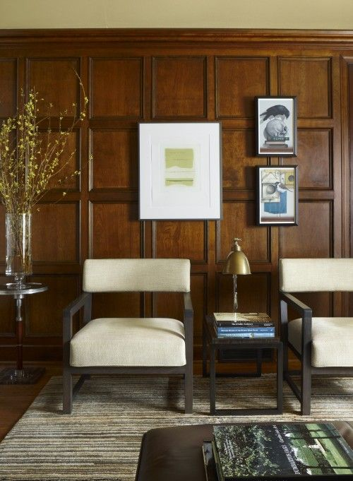 Gorgeous Walnut Paneling Contemporary Home Office Wood Panel