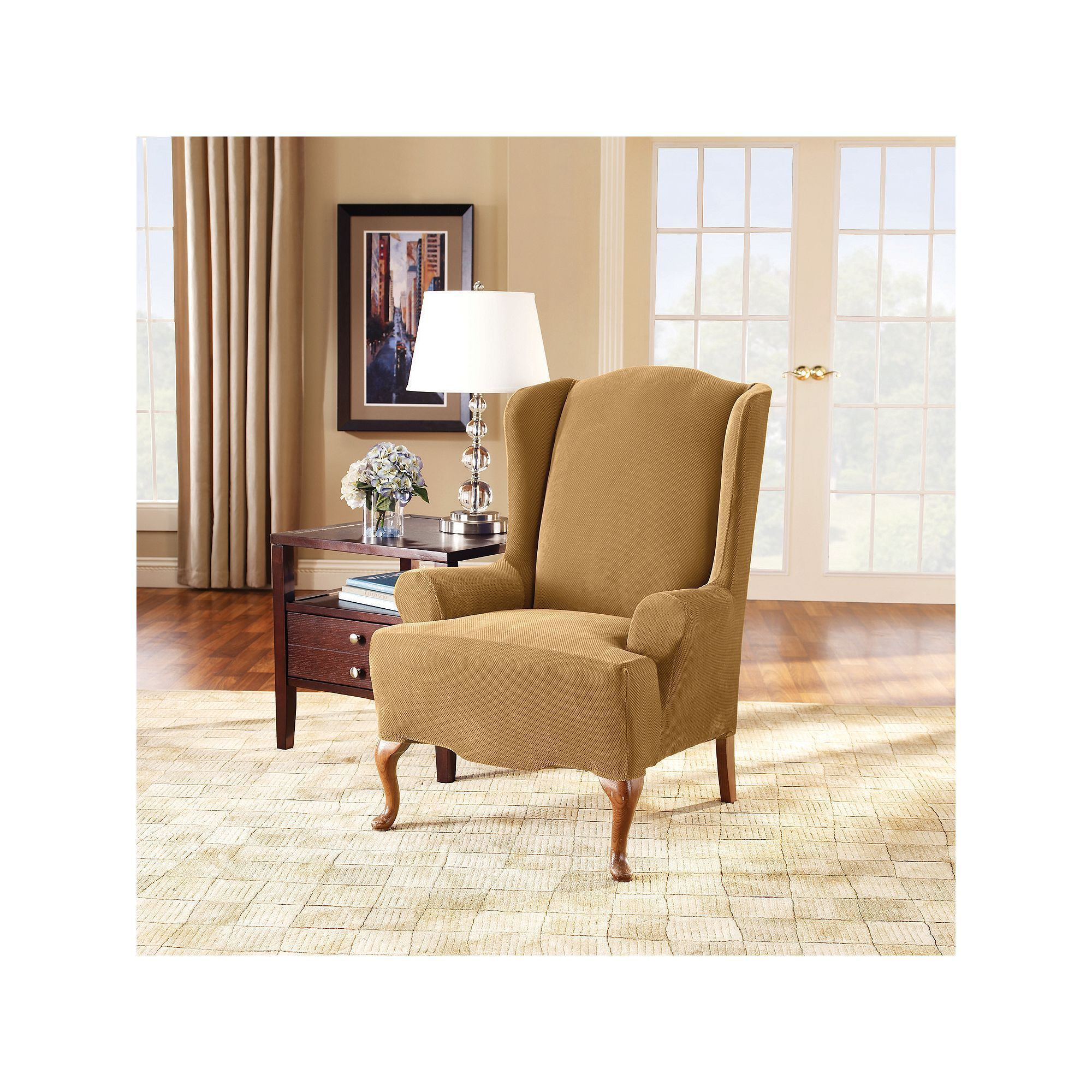 Sure Fit Soft Suede Shorty Dining Room Chair Slipcover Gorgeous Sure Fit Stretch Pique Wing Chair Slipcover Yellow  Chair Design Inspiration