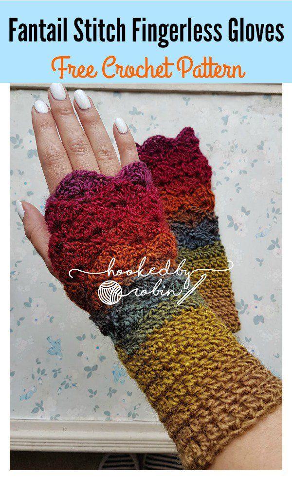 Fantail Stitch Fingerless Gloves Free Crochet Pattern | Guantes ...
