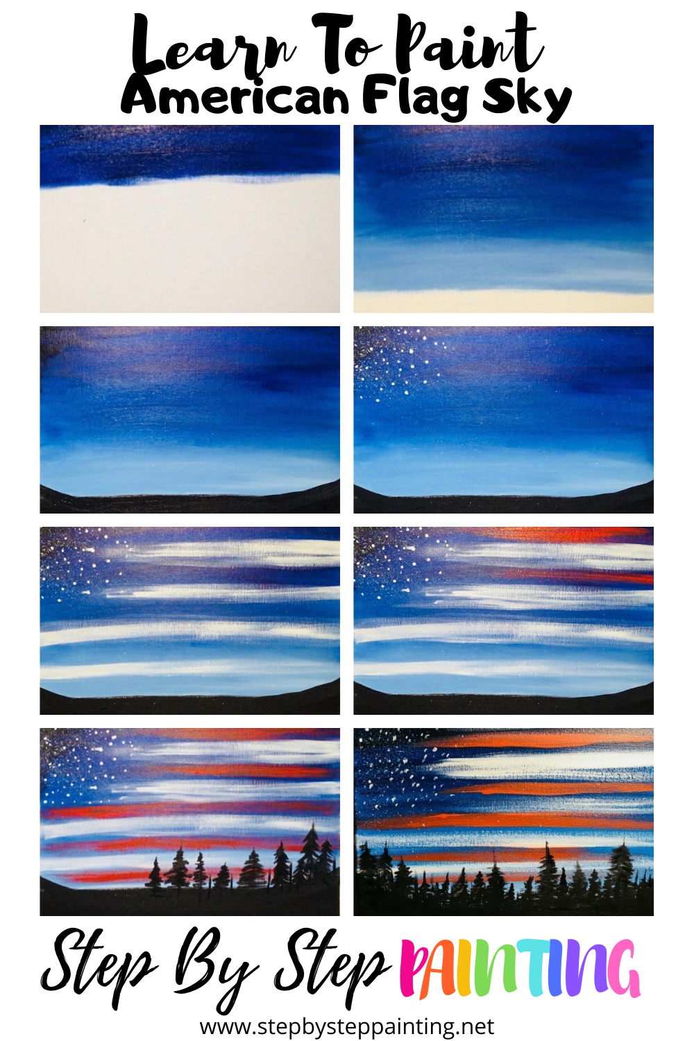 How To Paint American Flag Sky In 2020 Step By Step Painting