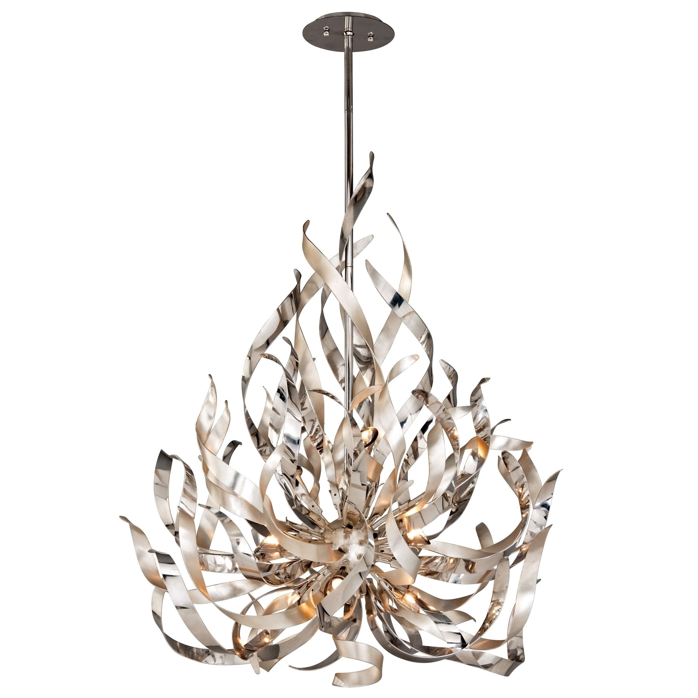 The Graffiti 9 light Chandelier es in a silver leaf and