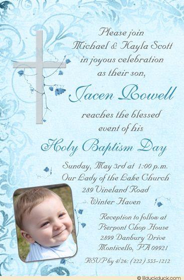 Elegant Holy Baptism Invitation Catholic Flowers Cross Baptisms