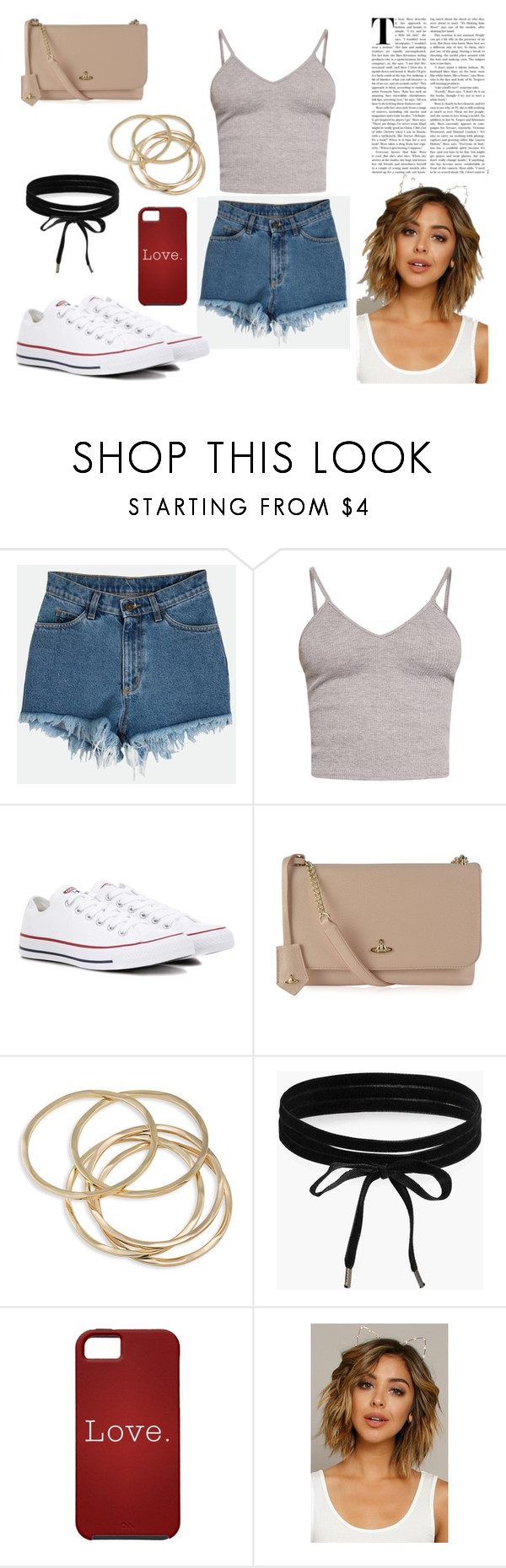 """""""Casual Summer Outfit"""" by lollipollipop on Polyvore featuring BasicGrey, Converse, Vivienne Westwood, ABS by Allen Schwartz, Boohoo, Summer, casual and outfit"""