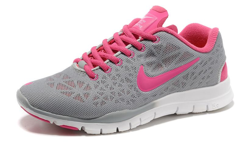 nike womens free tr fit 3 training shoes pink/grey