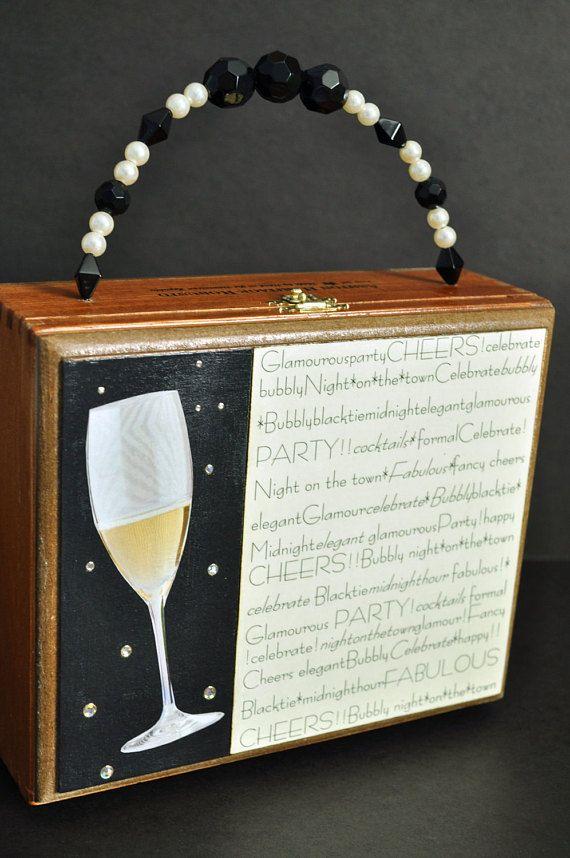 Champagne Purse   Wood Cigar Box Purse   Statement Handbag   Gold Evening  Bag   Bubbly 0a586df5f1817