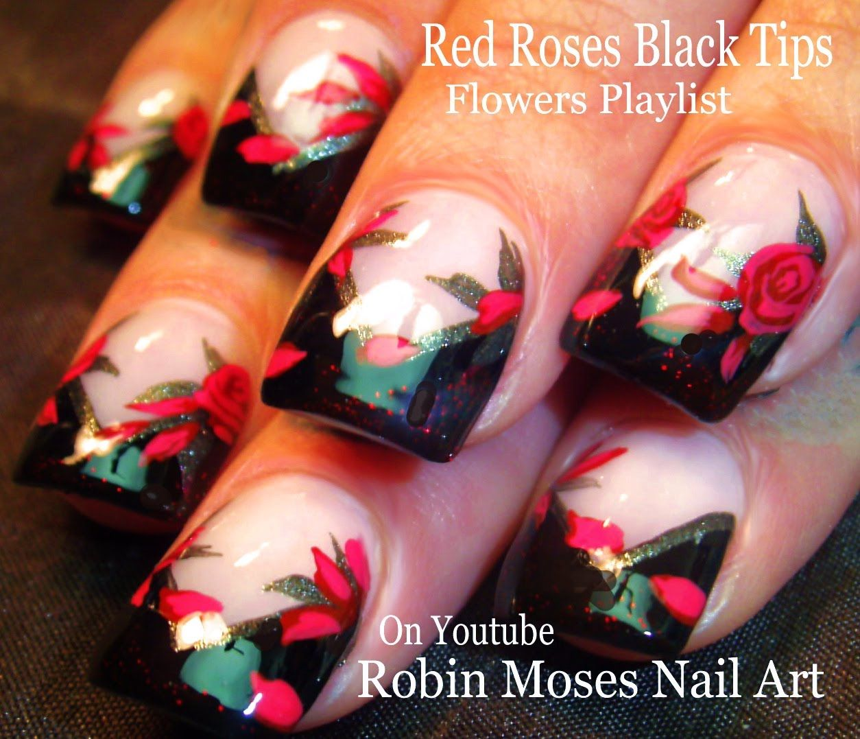 Nail Art   Elegant Red Rose Nail Design Tutorial   Black Chevron ...