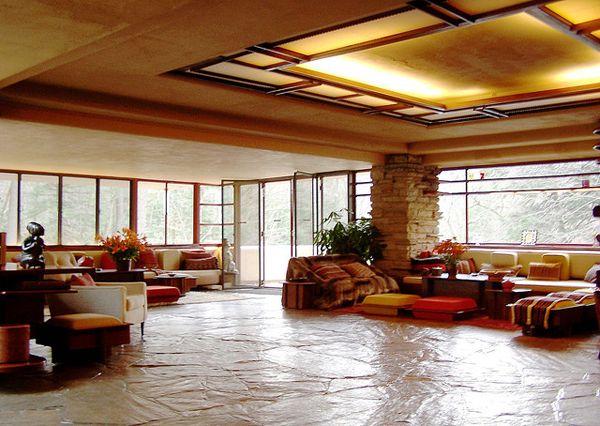frank lloyd wright casa de la cascada interior - Buscar con Google