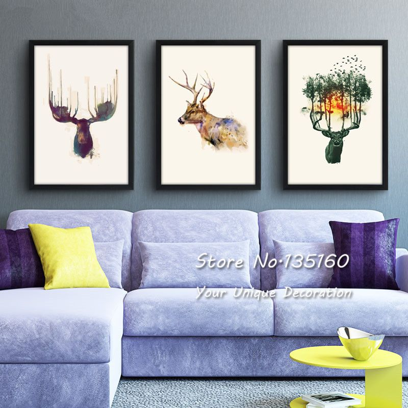 Nordic Deer Hanging Painting Modern Home Room Decor Wall Picture Abstract Animal Vertical Canvas Print Paintings Set