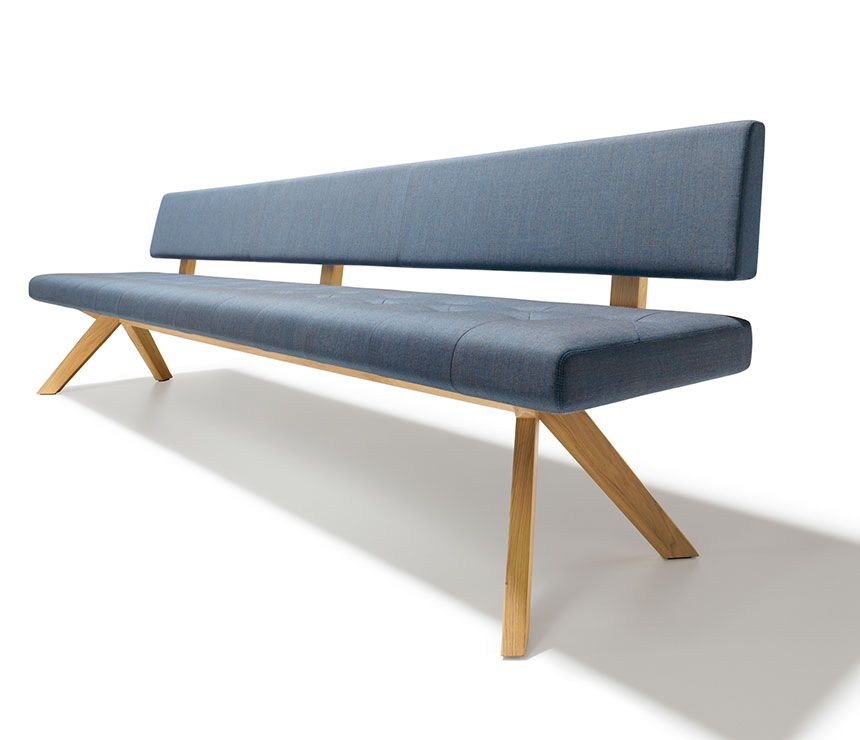 High-back dining bench shown in blue upholstery fabric and solid hardwood