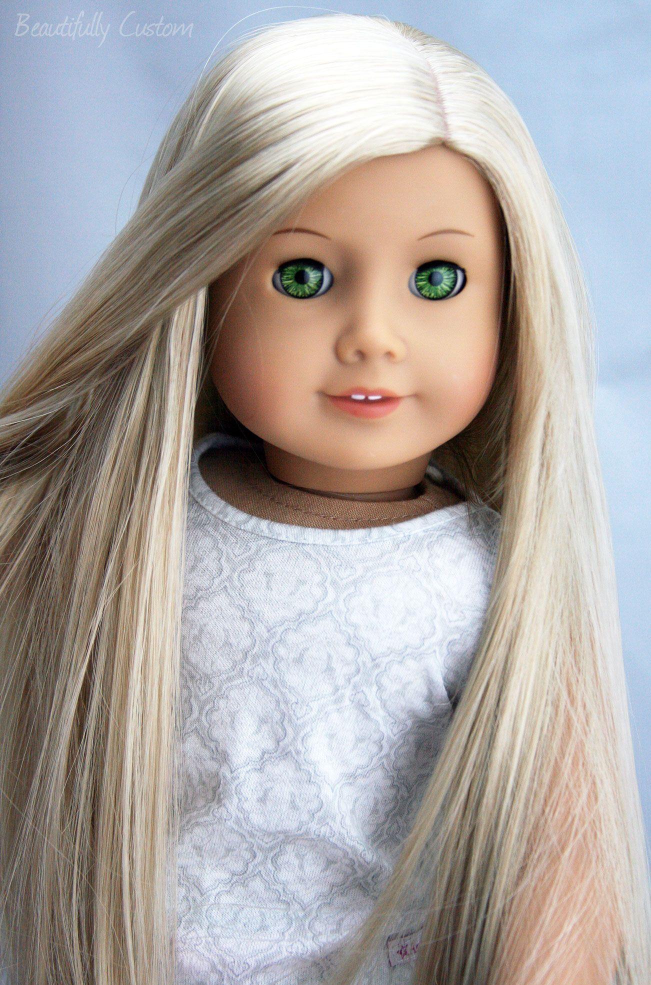 Blonde hair pale green eyes - Custom Ooak American Girl Doll Felicity Green Eyes Julie Long Blonde Hair