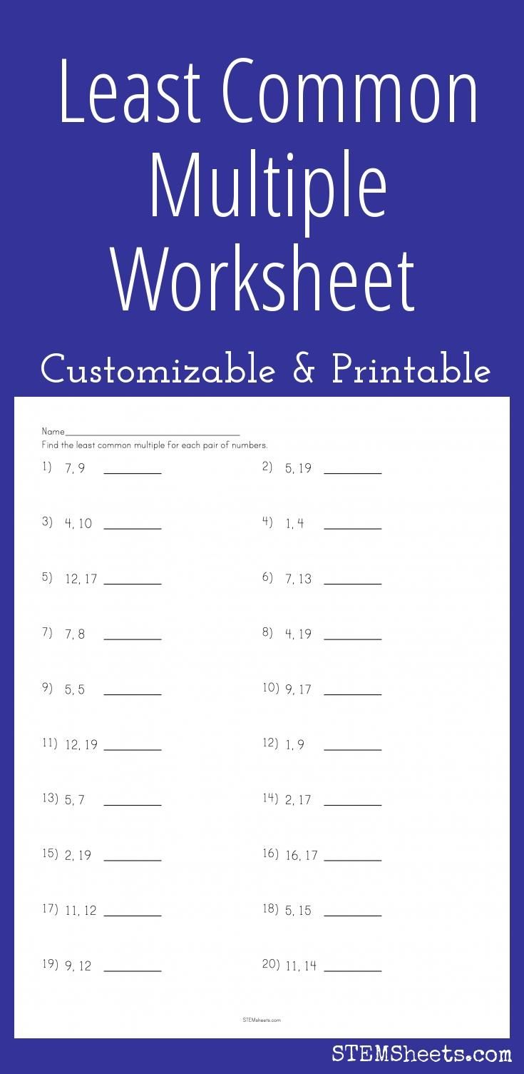 least common multiple worksheet customizable and printable math stem resources pinterest. Black Bedroom Furniture Sets. Home Design Ideas