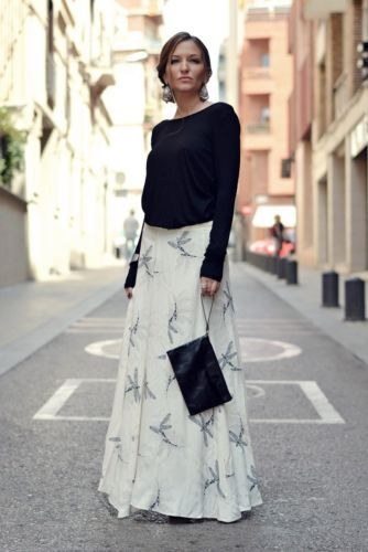 648a2c2b7a4 Zara off white printed long skirt dragon-fly ss15 size m medium bnwt ...