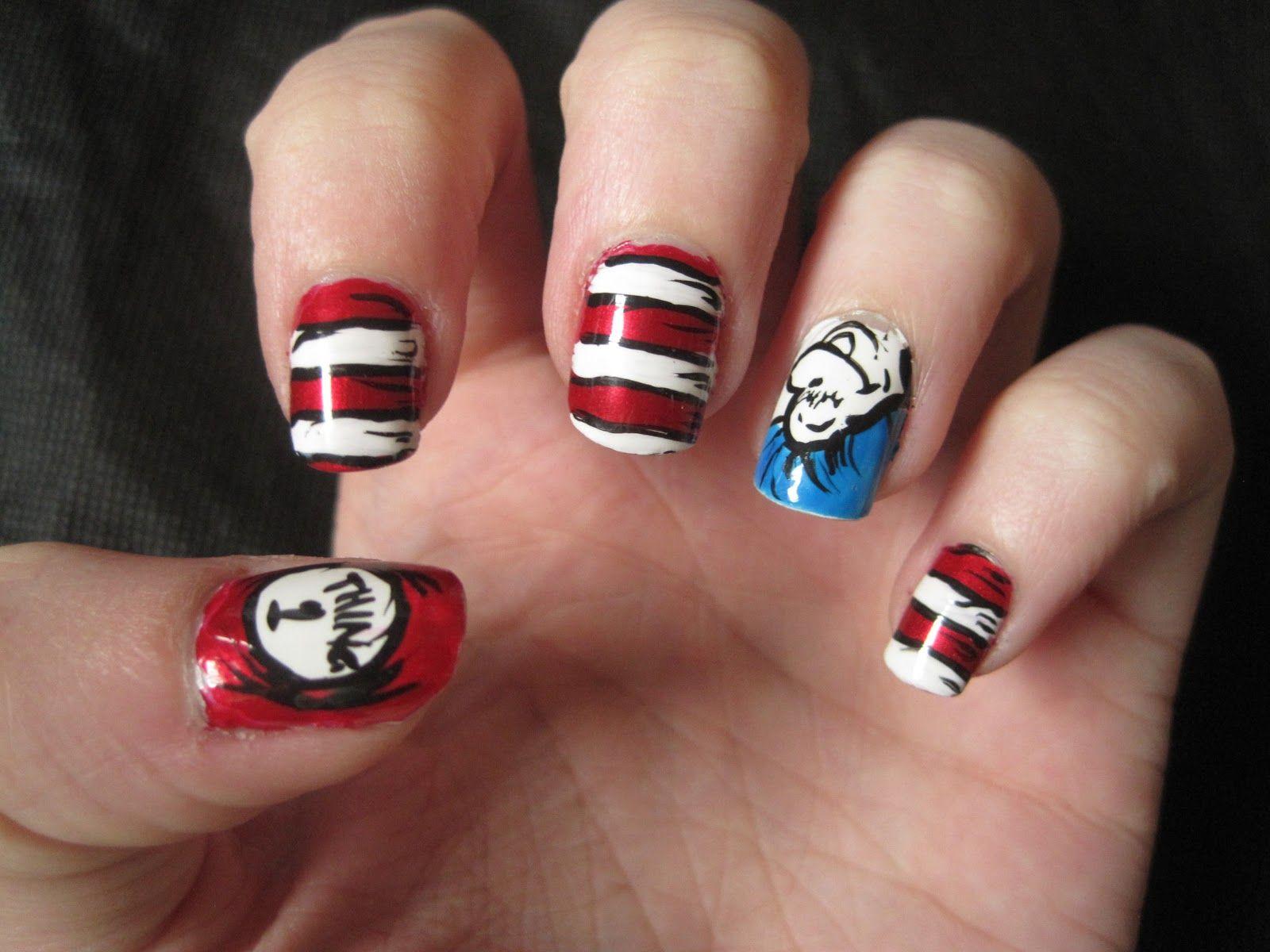 Dr. Seuss\' Thing1/Thing2 Nails | Nails/Fashion | Pinterest | Nail ...