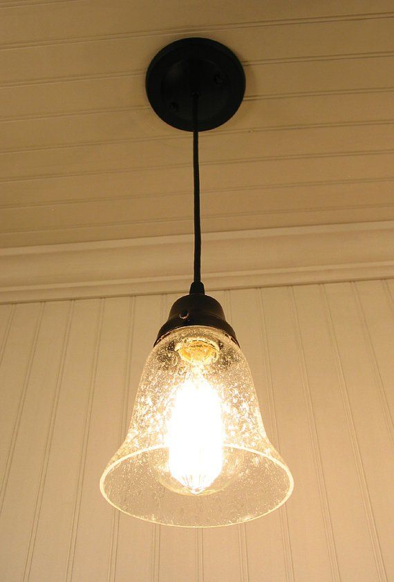 Kellie II Glass Pendant Light of Seeded Glass - Mason Jar Light