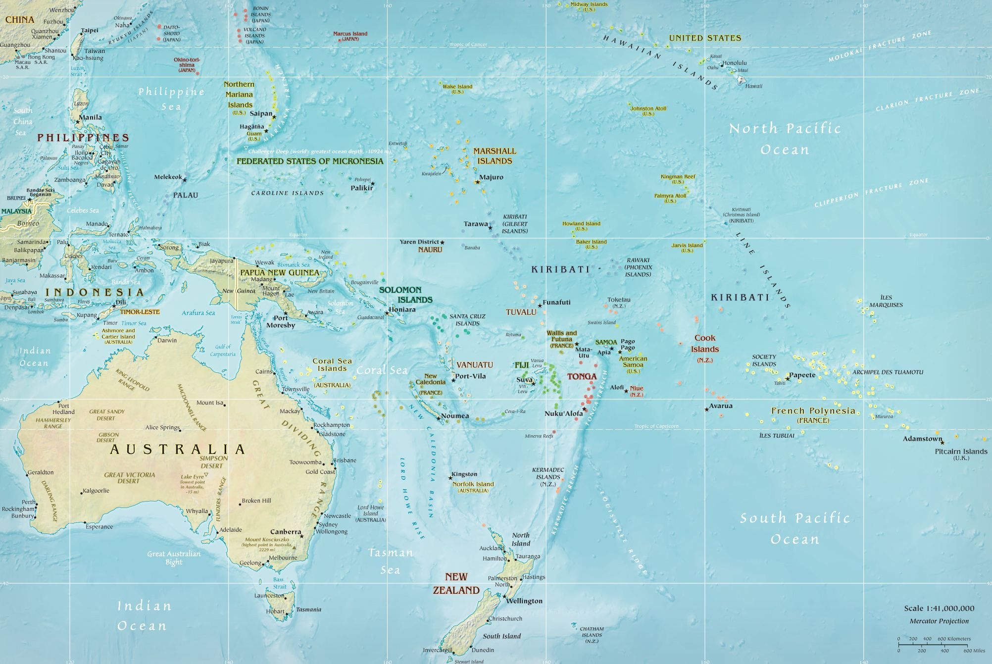 This Distinctive Physical Map Of The Pacific Ocean Floor Appeared - Micronesia interactive map