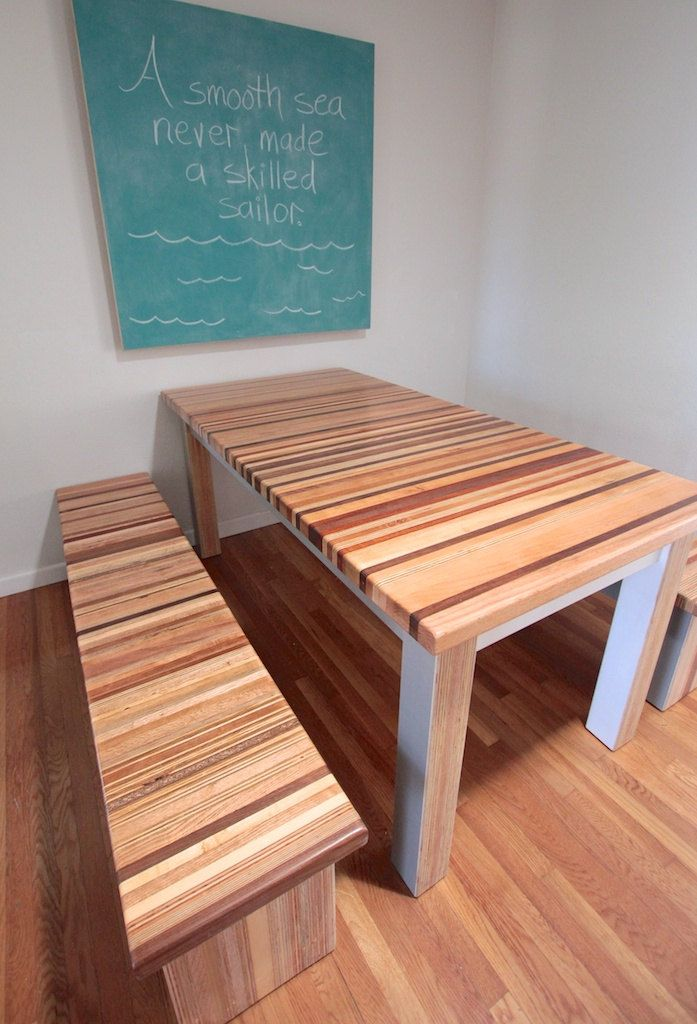Salvaged Reclaimed Butcher Block Dining Table // Two Tone White and Grey  Bottom. $2,000.00