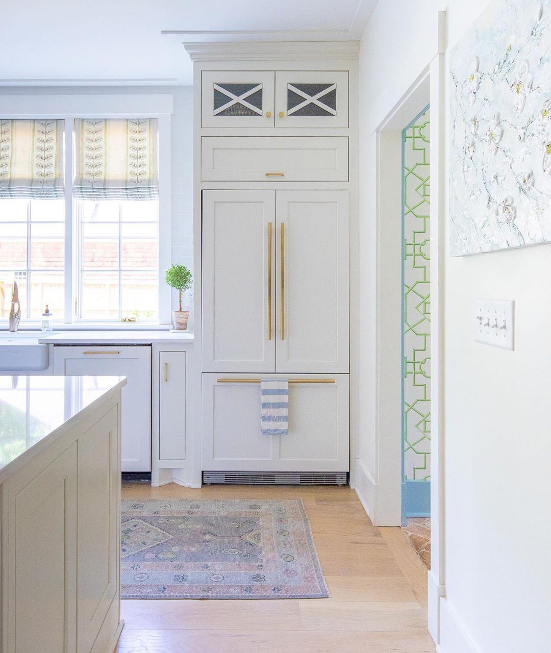 paneled refrig gold hardware oshauk rug white kitchen white paneling white appliances interior on kitchen remodel gold hardware id=26239