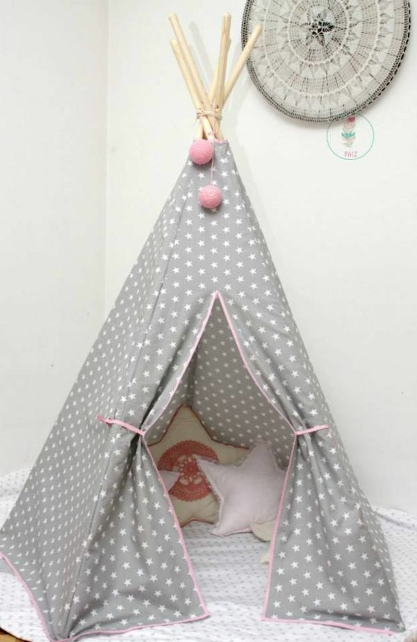 kinderzimmer deko selber machen gestalten zelt stoff kinderzimmer pinterest tipi teepee. Black Bedroom Furniture Sets. Home Design Ideas