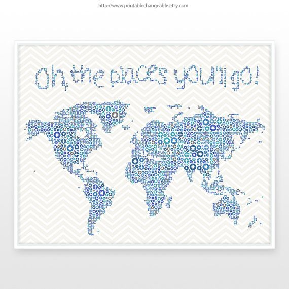 Large world map poster nursery world map by printablechangeable large world map poster nursery world map by printablechangeable gumiabroncs Gallery