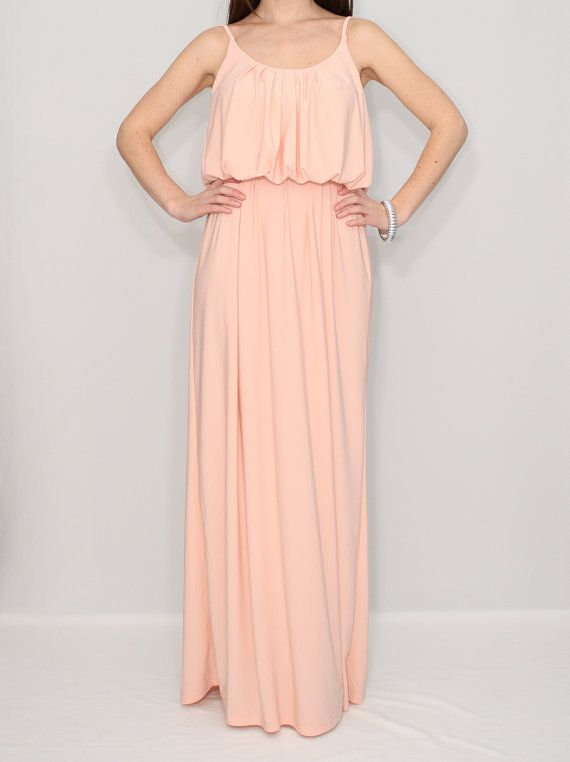 Peach Dress Maxi Summer Bridesmaid By Ksclothing 45 00