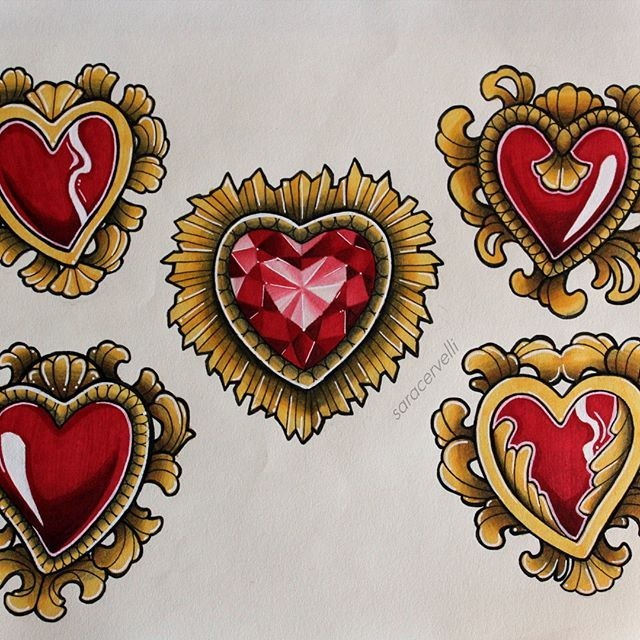 Some Awesome Heart Designs Created By Saracervelli With Their Chameleon Pens Drawing Flash Flashsheet Tatto Heart Tattoo Gem Tattoo Heart Tattoo Designs