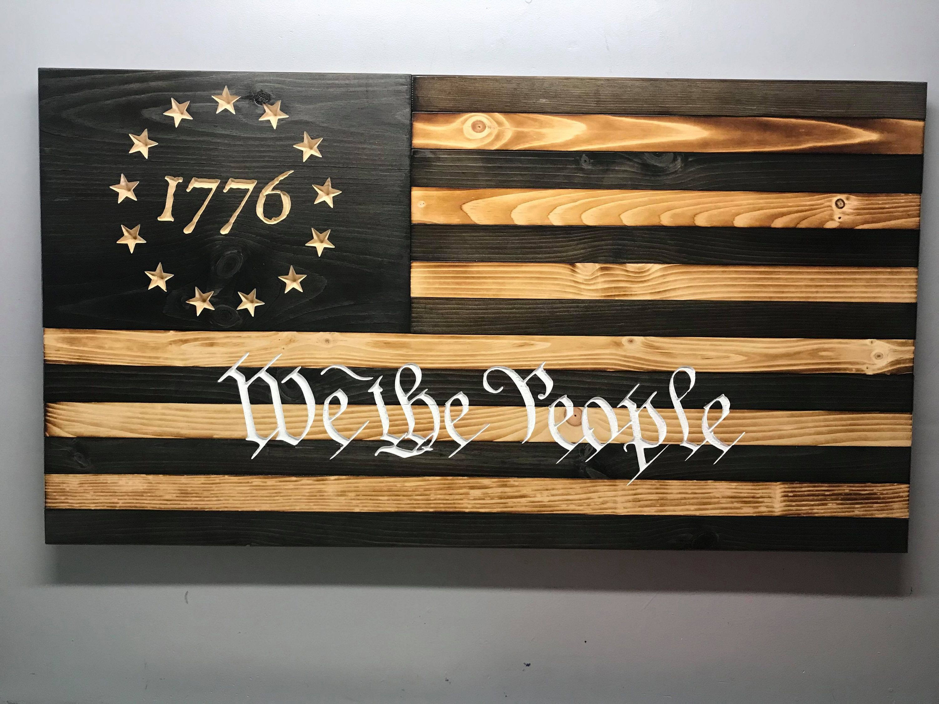Betsy ross 1776 we the people subdued wooden flag