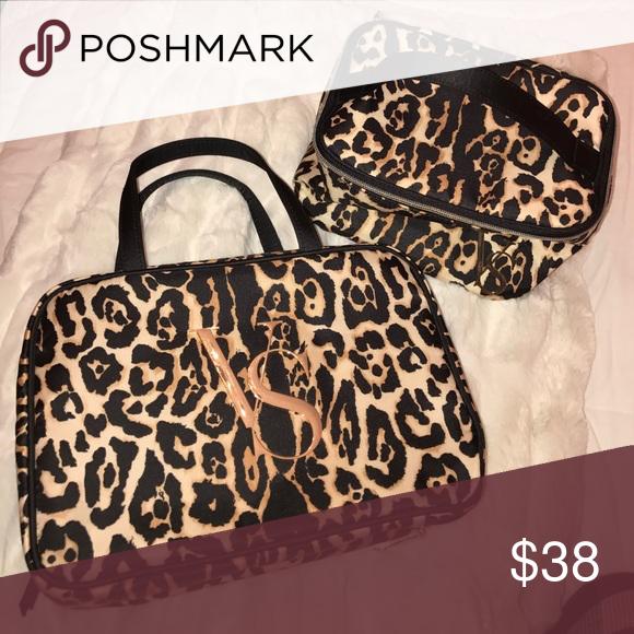 Travel Makeup Bag & Train Case Leopard Printed Victoria's Secret Bags Cosmetic Bags & Cases