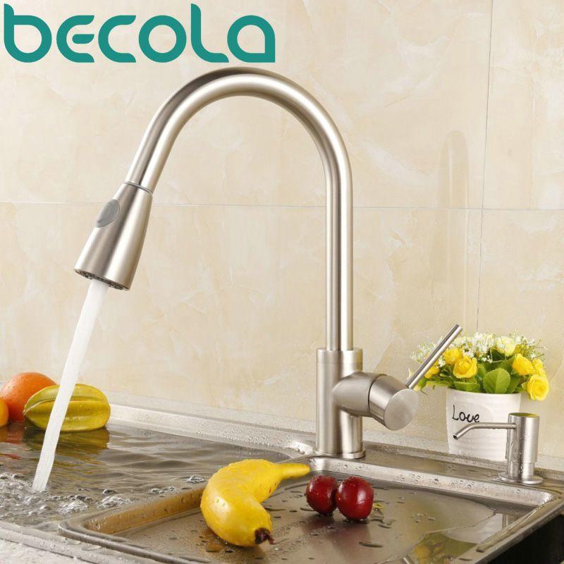 Reviews BAKALA kitchen faucet brushed nickel single hand kitchen tap ...