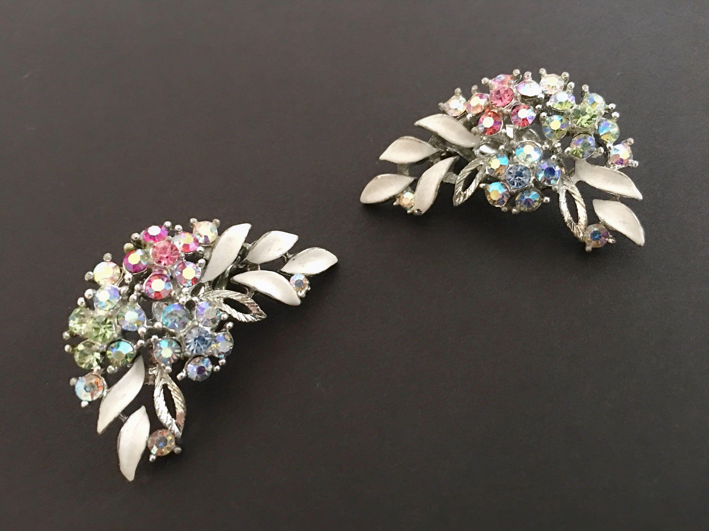 aurora borealis clip on earrings rhinestone earrings vintage jewelry vintage earrings Ina/'s Earrings jewellery 50/'s earrings
