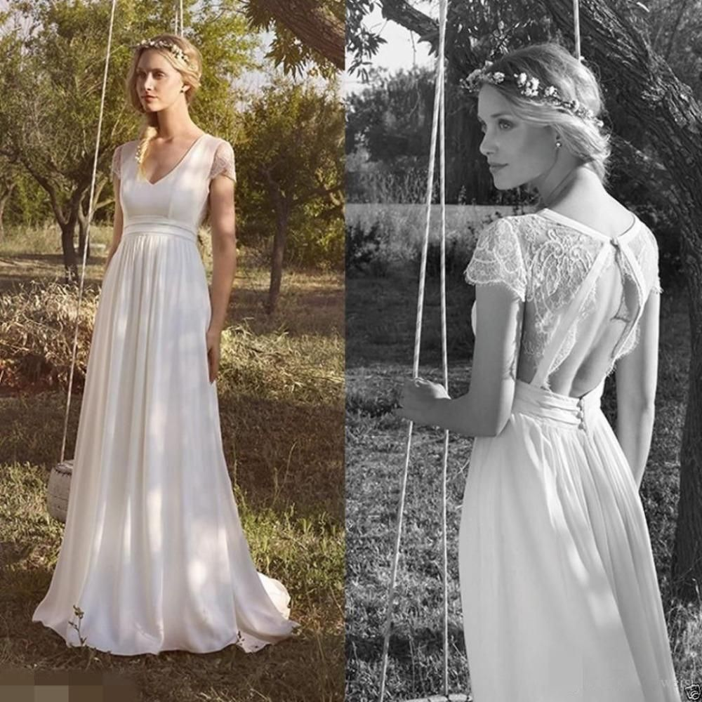 Backless Beach Wedding Dresses V Neck Flowing Vintage Boho: New A-Line V Neck Vintage Beach Wedding Dresses Chiffon