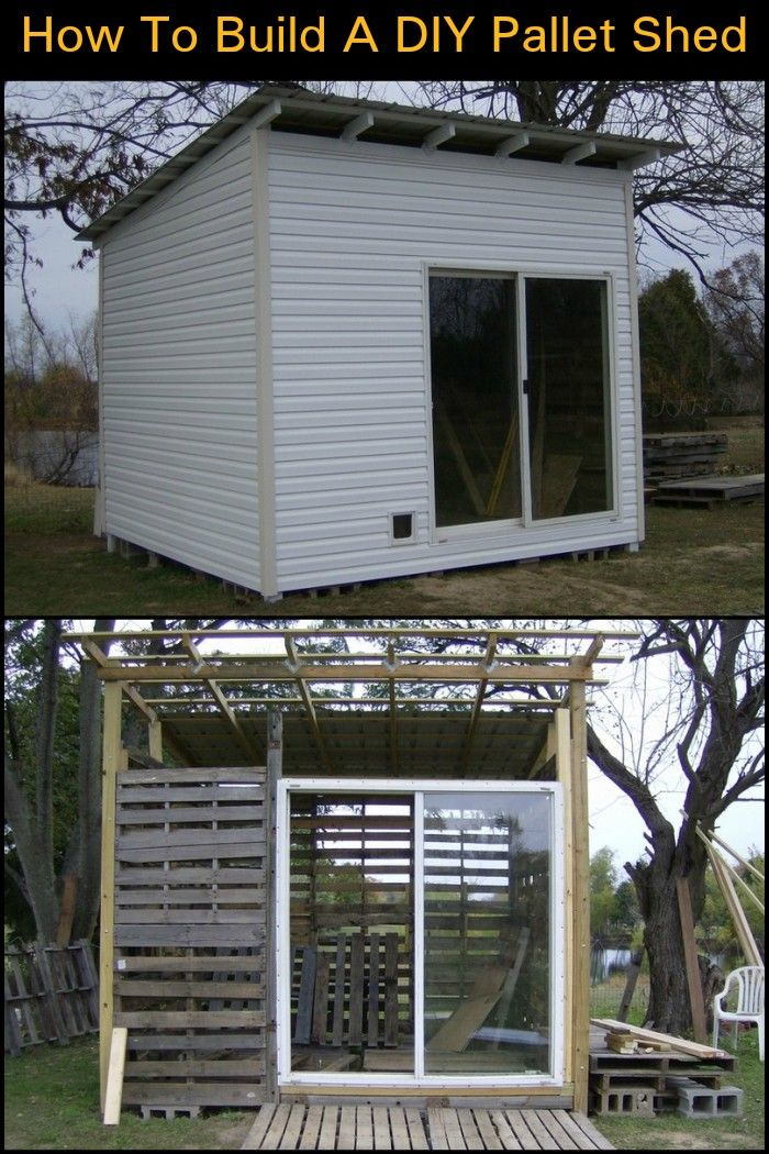 How To Build A DIY Pallet Shed #oldpalletsforcrafting