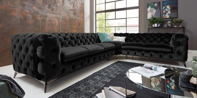 Chesterfield Sofa Grau Schwarz Samt
